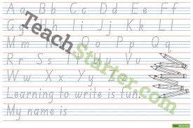 alphabet handwriting sheet 1 page