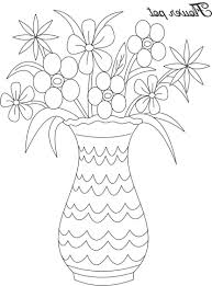 image of pencil drawing long flowers in the flower pot easy flower