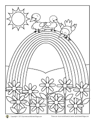 birds on a rainbow coloring page u2013 worksheet village