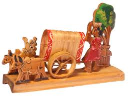 showpiece of a bullock cart u2013 handcrafted in bamboo u2013 unique