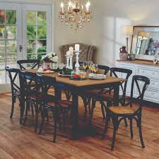 esquisse dining table in black and provincial cross back chairs in