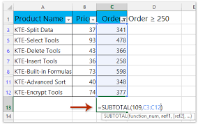 how to sum only filtered or visible cells in excel