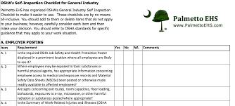 Inspection Checklist Template Excel Osha Self Inspection Checklist For General Industry In Ms Excel