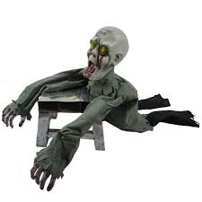 scary halloween ground crawling zombie skeleton animated prop