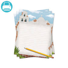 bordered writing paper texas writing template border paper school project printables printable lined writing paper themed to look like the bell tower of a california mission