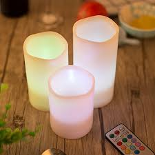 pack of 3 color changing indoor led flameless candle lights ivory