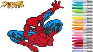 spiderman coloring book pages marvel superhero rainbow splash
