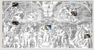 zoomdiv jpg last judgement painted in the years 1536 1541 size 12 2 x 13 7 m the grid in the picture is only illustrative to give you an idea marked rectangle