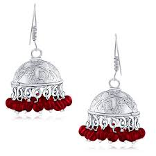 jumka earrings buy spargz embellished bead silver oxidized jhumka
