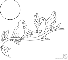 coloring page of birds on the tree for coloring for kids