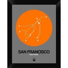 san francisco map framed naxart san francisco orange subway map framed graphic print