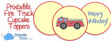 firefighter cupcake toppers printable truck cupcake toppers printable treats