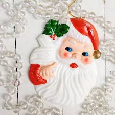 vintage blow mold santa ornament vintage santa christmas decor