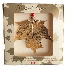 maple leaf ornament gold made in canada gifts