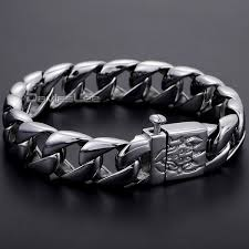 stainless silver bracelet images Davieslee 15mm wide thick mens chain boys silver tone 316l jpg