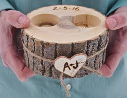 Wedding Ring Holder by Engraved Reclaimed Hickory Wedding Ring Holder By Black Label