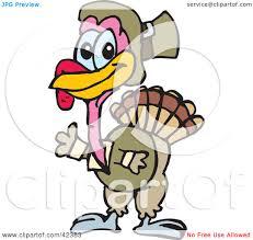 clipart illustration of a pilgrim turkey waving by dennis holmes