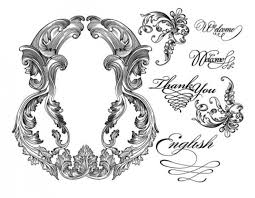 floral ornament frame and curly words ornaments