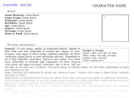 free roleplay character sheet templates forum roleplay