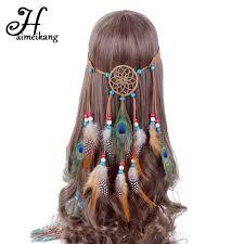 bohemian headbands haimeikang bohemian hippie headband catcher feather