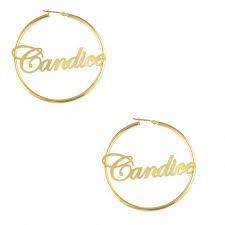 Name Plate Earrings Script Name Hoop Earrings In Sterling Silver With 14k Gold Plate