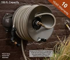 wall mounted garden hose reel incredible a matic mount holds 5 8in