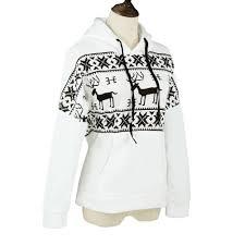 korean fashion women hoodies sweatshirt deer print fleece long