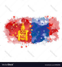 map of mongolia watercolor paint royalty free vector image