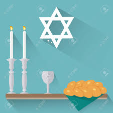 shabbat candles shabbat candles kiddush cup and challah in flat style royalty