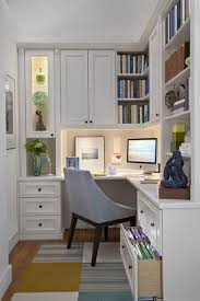 home office interiors corner computer desk and white wall bookshelf cabinets in small