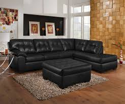 simple modern l shaped black leather sofa with tufted button