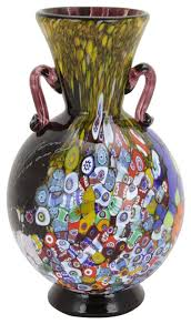 Amethyst Glass Vase Murano Glass Millefiori Art Glass Vase With Handles Amethyst