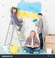 interior design on wall at home happy mother children home smiling stock photo 521034742