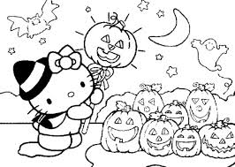 cute halloween coloring pages kids kitty pictures