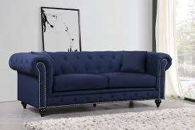 Button Tufted Sofas by Furniture Home Italian Navy Leather Tufted Sofa Second Hand