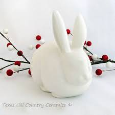 bunny cotton holder antique white ceramic bunny rabbit vintage style cotton