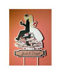 book lovers bride and groom custom wedding cake topper pets black