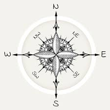 graphic wind rose compass drawn with floral elements stock image