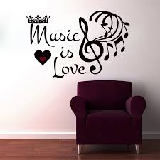 music note home decor mm66 music is love crown musical notes wall sticker living room