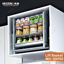 2017 pull down stainless steel kitchen cabinet double compartments