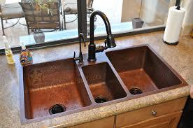 Hammered Copper Kitchen Triple Basin Sink Corbel Universe - Hammered kitchen sink