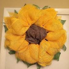 burlap sunflower wreath yellow sunflower wreath poly burlap mesh wreath handmade
