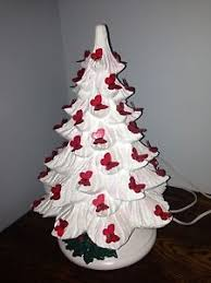 Red Butterfly Christmas Tree Decorations by Vintage Ceramic Christmas Tree With White Base No Lights Sold