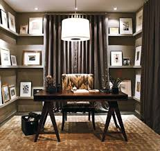 Elegant Home Office Design Idea With Floating Shelves And Pendant - Small home office designs