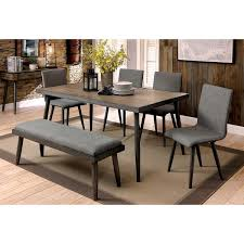 mid century walnut dining table furniture of america bradensbrook mid century modern industrial