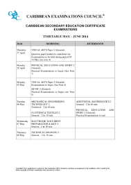 timetable csec may jun 2014