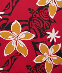 Tropical Home Decor Fabric Tapa Patterns Turtle Plumeria Tiare Flowers Check It Out At