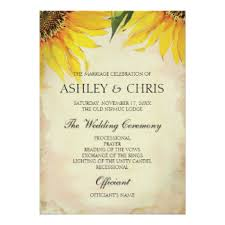 sunflower wedding programs custom rustic country sunflower wedding theme invitation cards