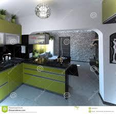 open concept kitchen and living room scene 2 3d rendering stock combined concept design interior kitchen living minimalist open room