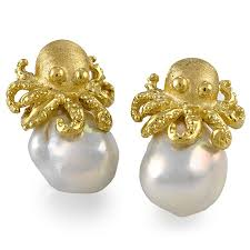 18k gold earrings 18k gold baroque pearl octopus earrings pearl earrings
